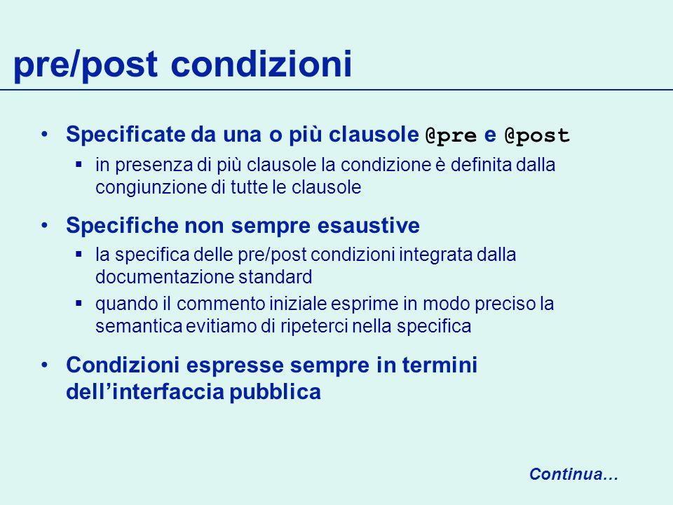 pre/post condizioni Specificate da una o più clausole @pre e @post