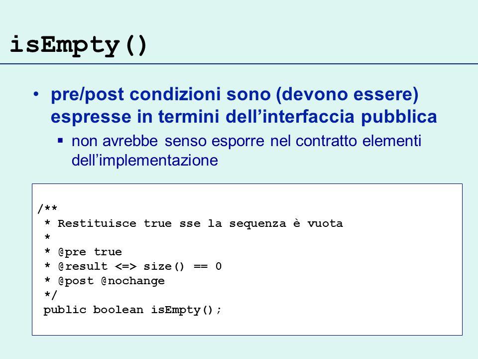 isEmpty() pre/post condizioni sono (devono essere) espresse in termini dell'interfaccia pubblica.