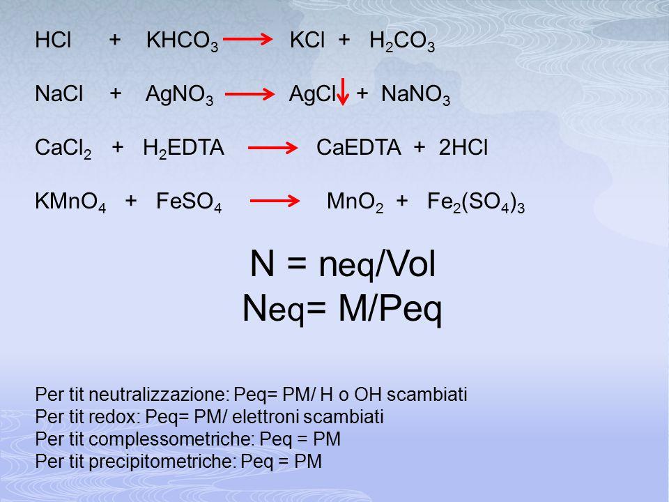 N = neq/Vol Neq= M/Peq HCl + KHCO3 KCl + H2CO3