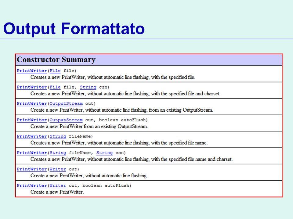 Output Formattato PrintWriter out = new PrintWriter( output.txt );
