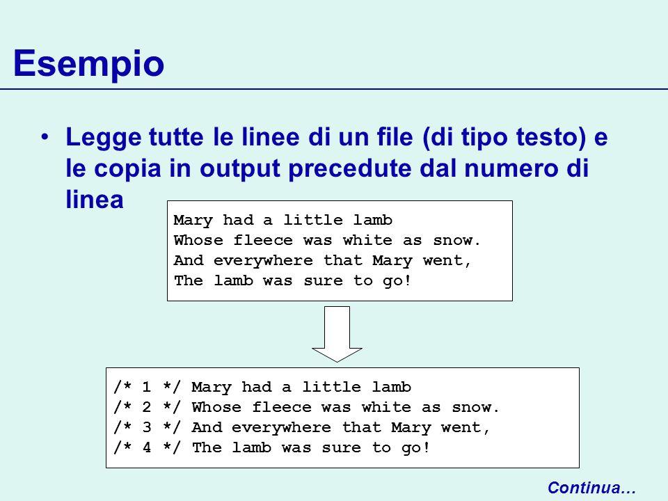 Esempio Legge tutte le linee di un file (di tipo testo) e le copia in output precedute dal numero di linea.