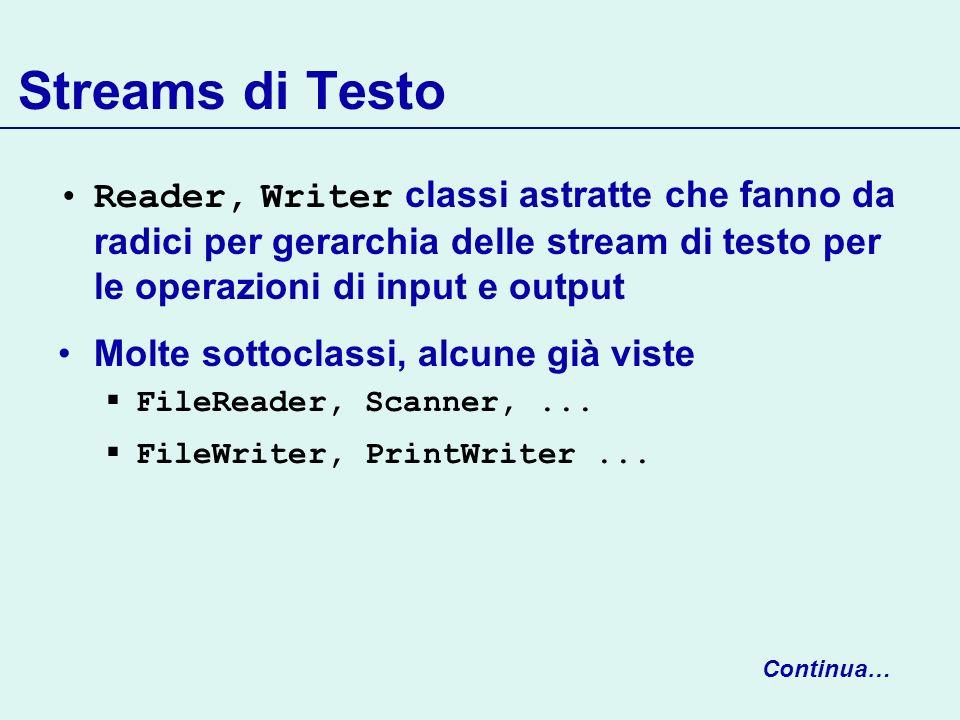 Streams di Testo Reader, Writer classi astratte che fanno da radici per gerarchia delle stream di testo per le operazioni di input e output.