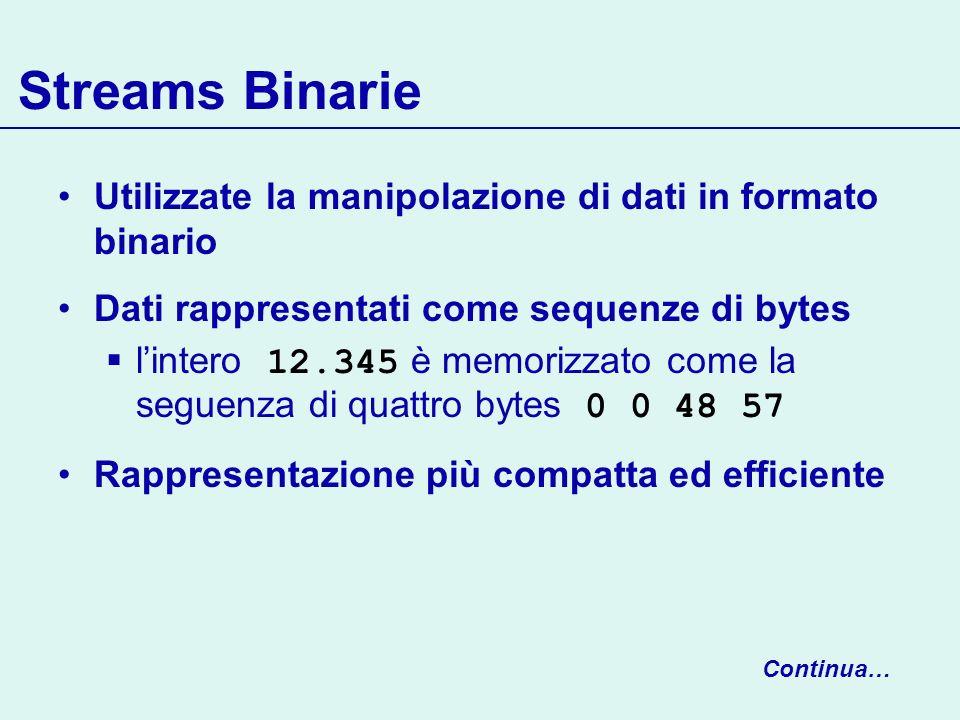 Streams Binarie Utilizzate la manipolazione di dati in formato binario