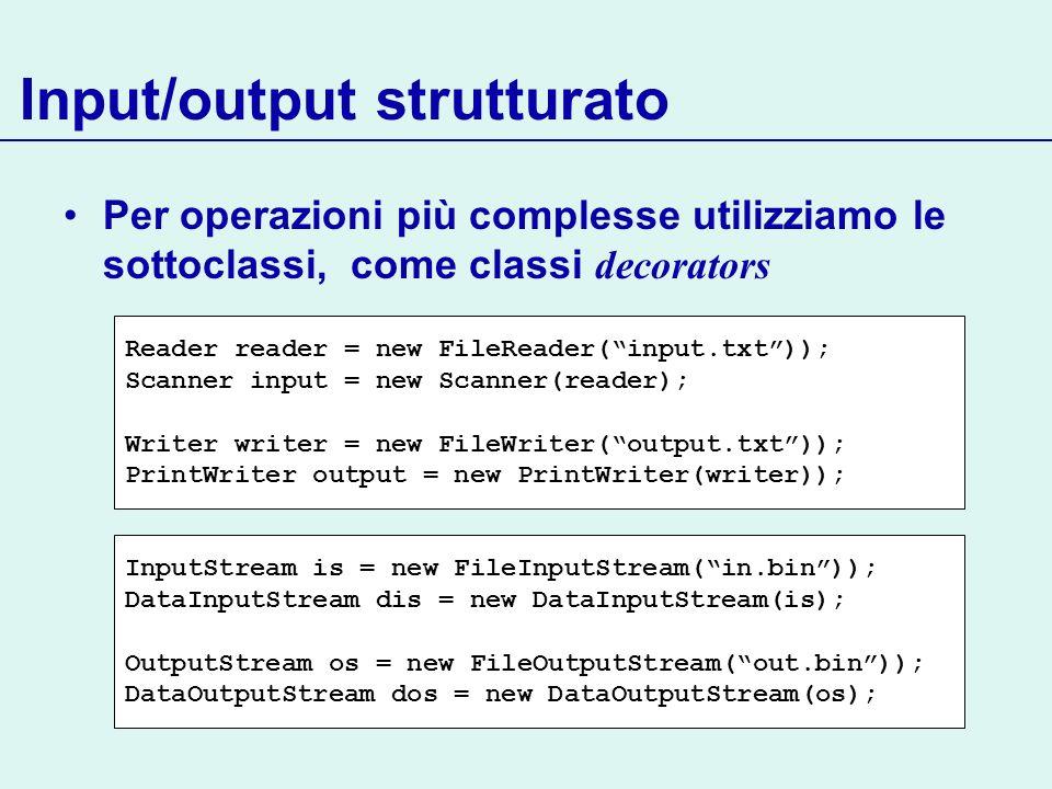 Input/output strutturato
