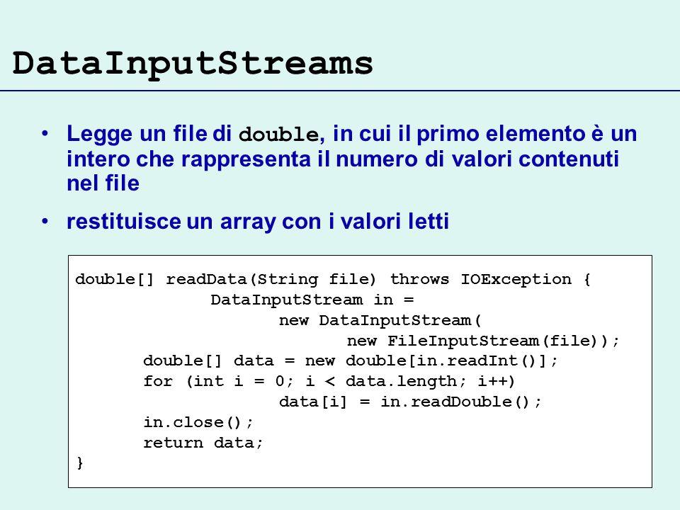 DataInputStreams Legge un file di double, in cui il primo elemento è un intero che rappresenta il numero di valori contenuti nel file.