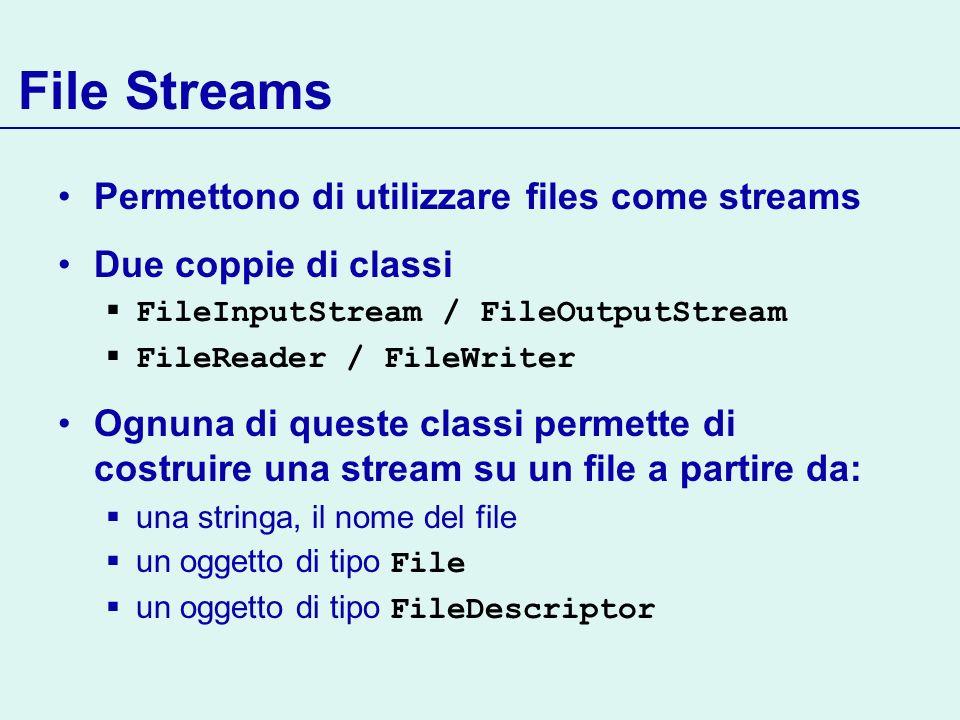 File Streams Permettono di utilizzare files come streams