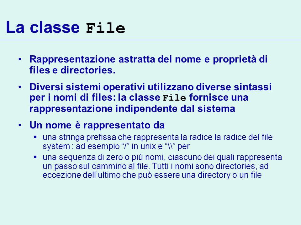 La classe File Rappresentazione astratta del nome e proprietà di files e directories.