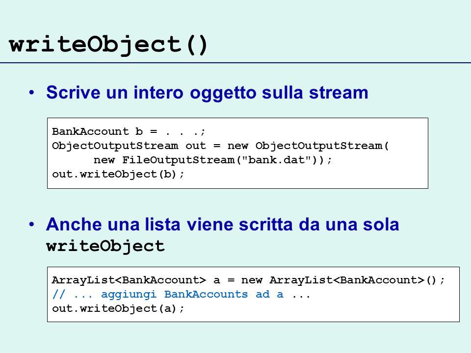 writeObject() Scrive un intero oggetto sulla stream