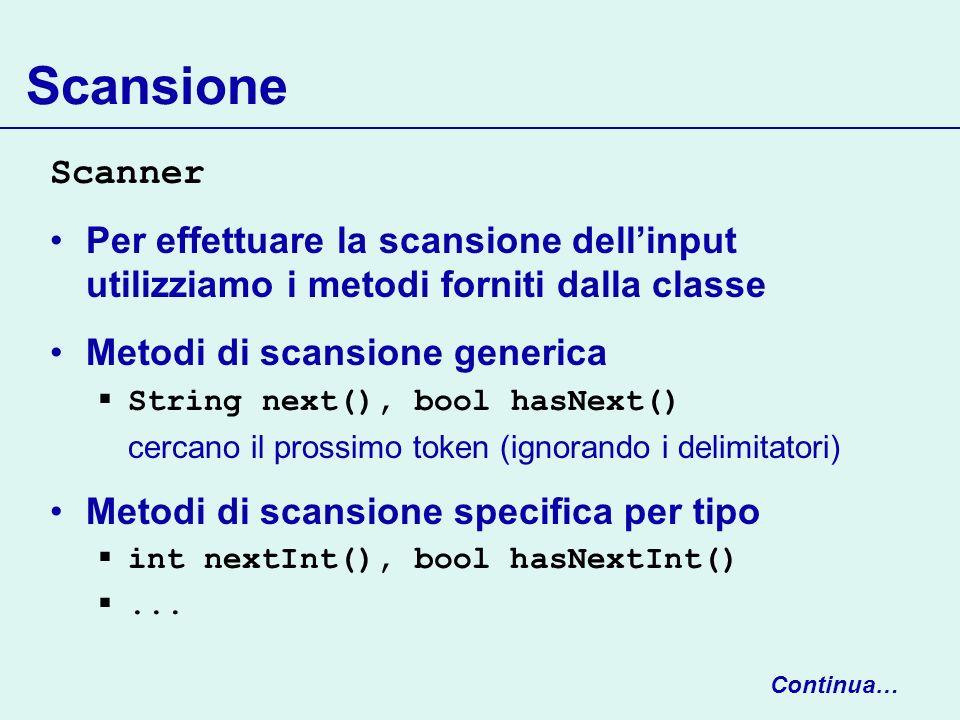 ScansioneScanner. Per effettuare la scansione dell'input utilizziamo i metodi forniti dalla classe.
