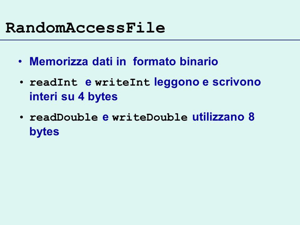 RandomAccessFile Memorizza dati in formato binario