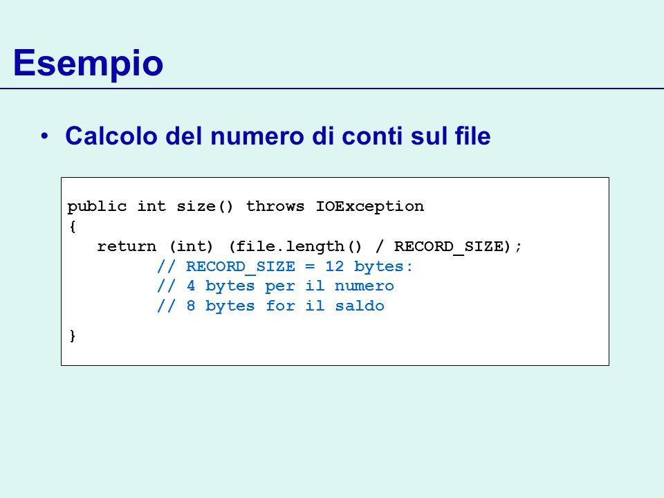 Esempio Calcolo del numero di conti sul file