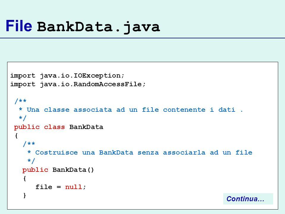 File BankData.java import java.io.IOException;