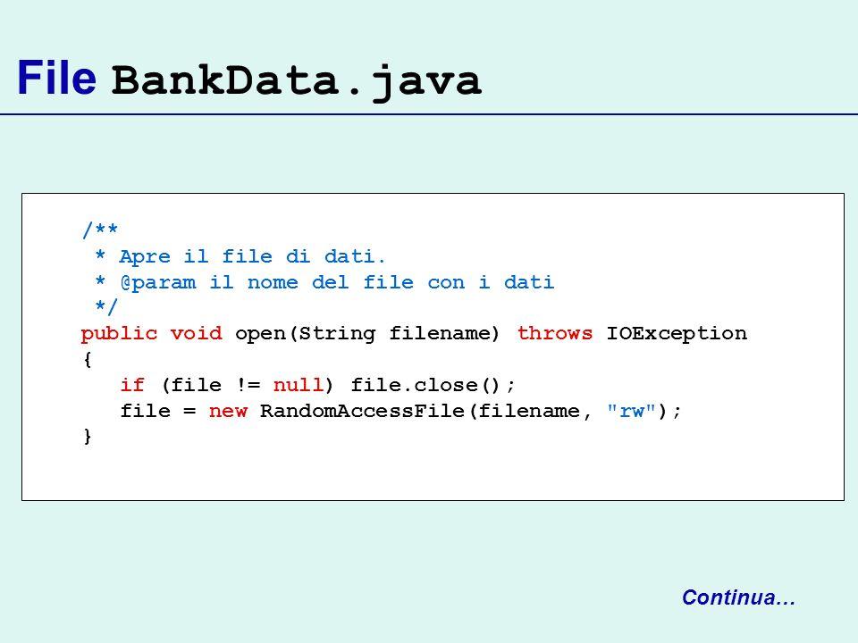 File BankData.java /** * Apre il file di dati.