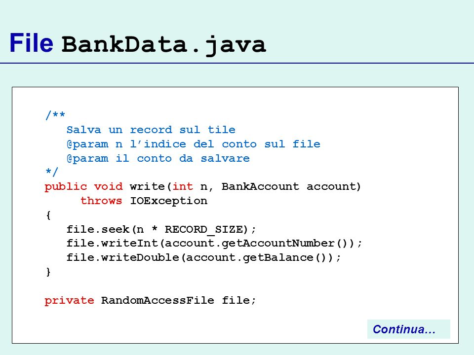 File BankData.java /** Salva un record sul tile