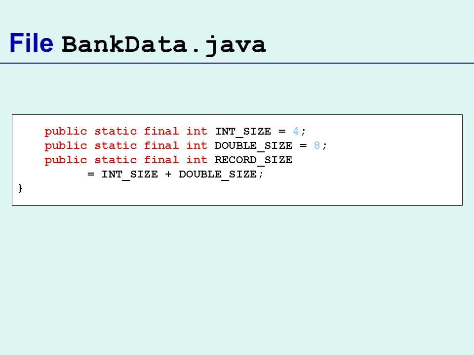 File BankData.java public static final int INT_SIZE = 4;