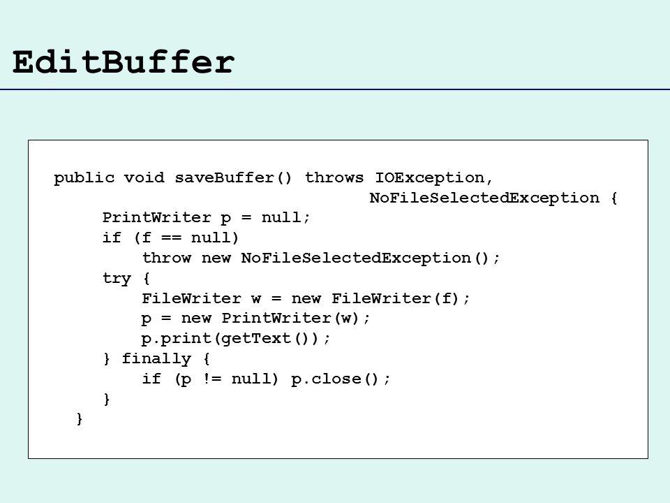 EditBuffer public void saveBuffer() throws IOException,