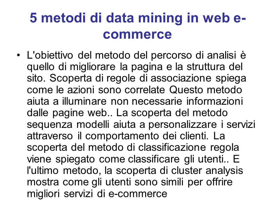 5 metodi di data mining in web e-commerce