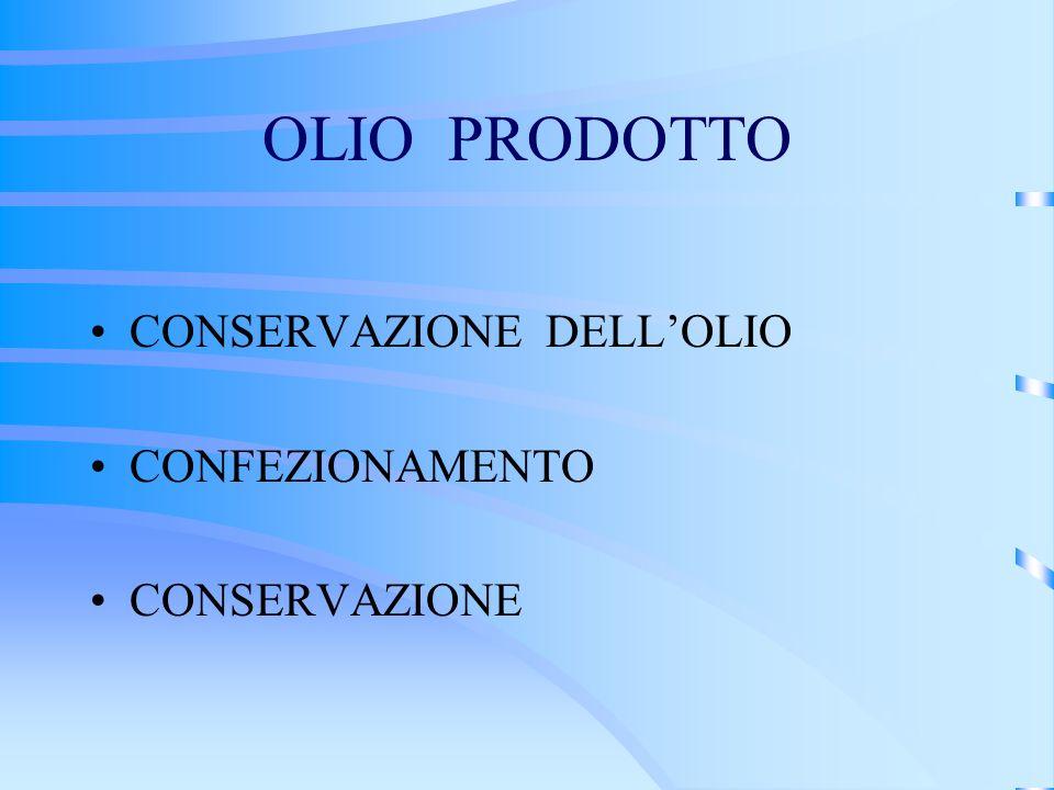 OLIO PRODOTTO CONSERVAZIONE DELL'OLIO CONFEZIONAMENTO CONSERVAZIONE