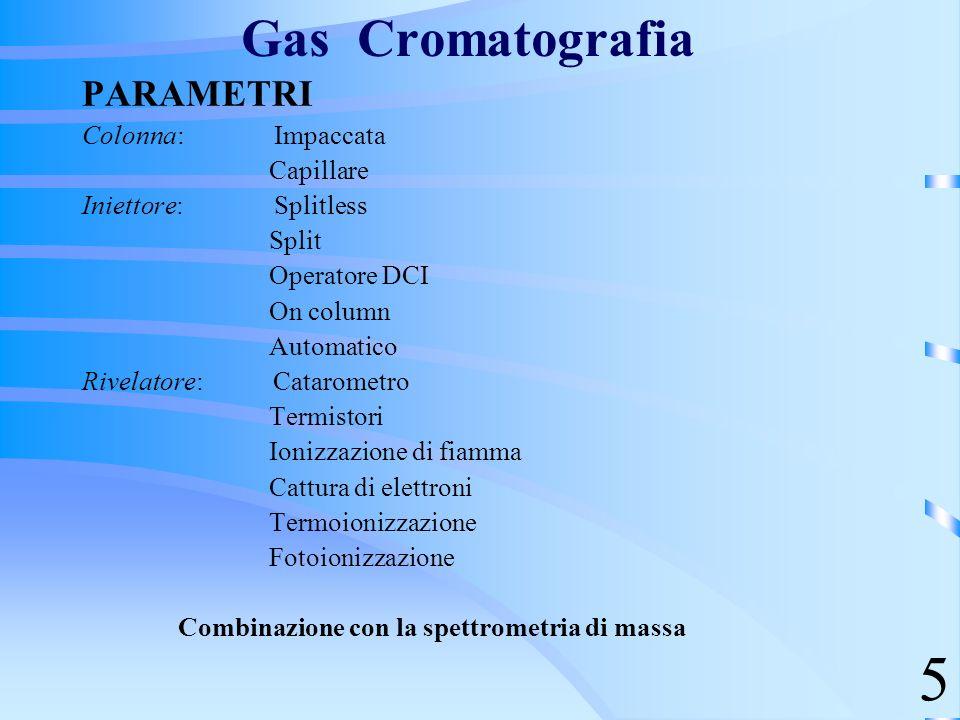 5 Gas Cromatografia PARAMETRI Colonna: Impaccata Capillare