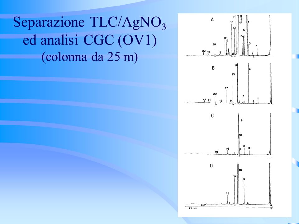 Separazione TLC/AgNO3 ed analisi CGC (OV1) (colonna da 25 m)