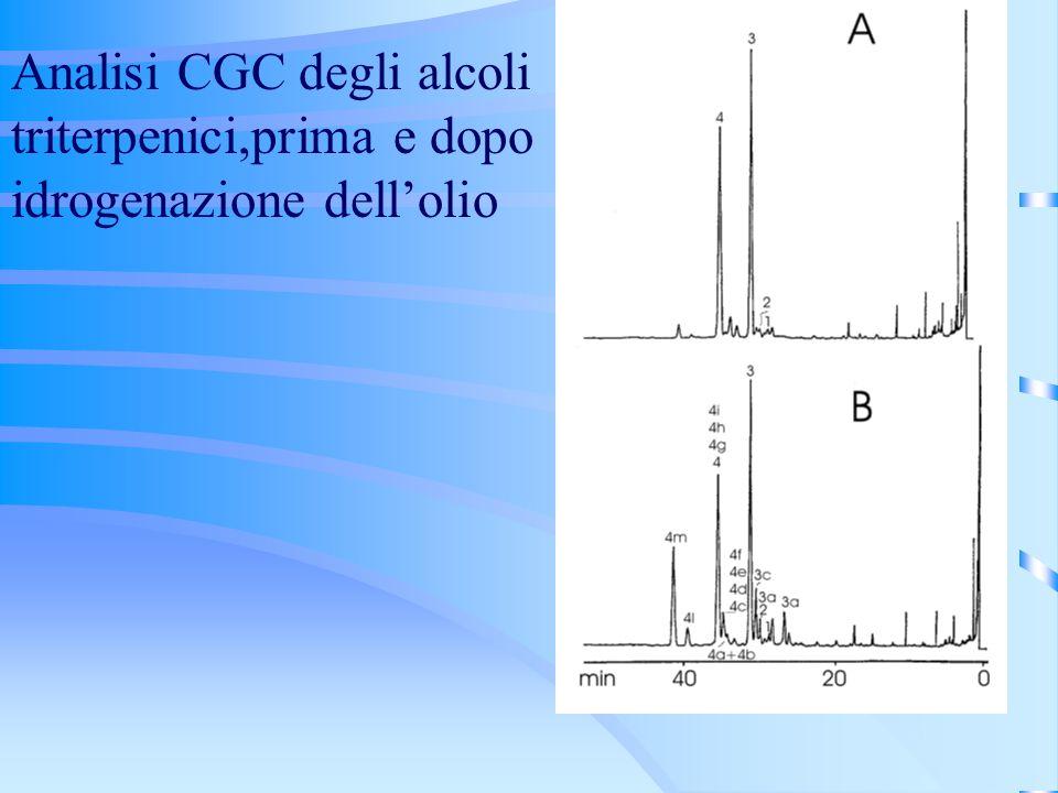 Analisi CGC degli alcoli triterpenici,prima e dopo idrogenazione dell'olio