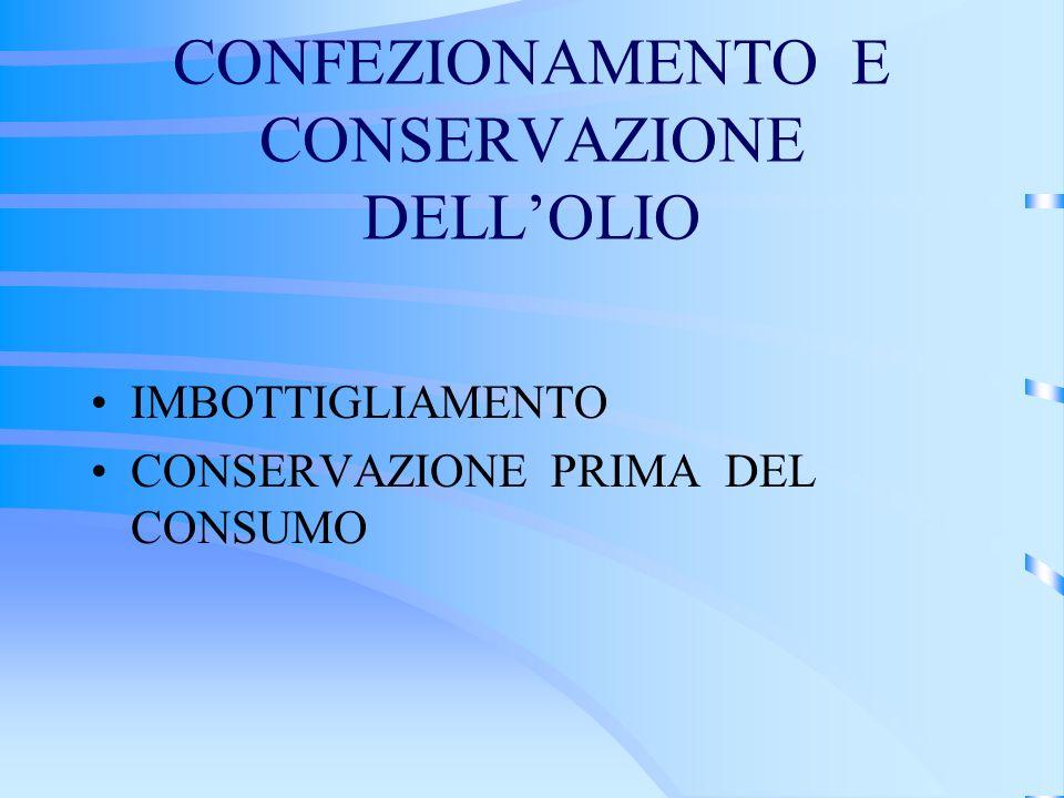 CONFEZIONAMENTO E CONSERVAZIONE DELL'OLIO