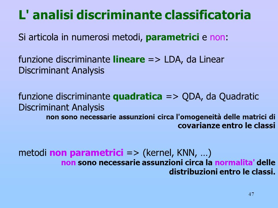 L analisi discriminante classificatoria
