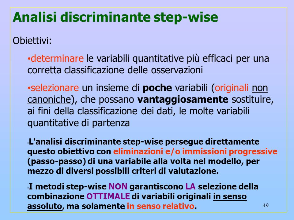 Analisi discriminante step-wise