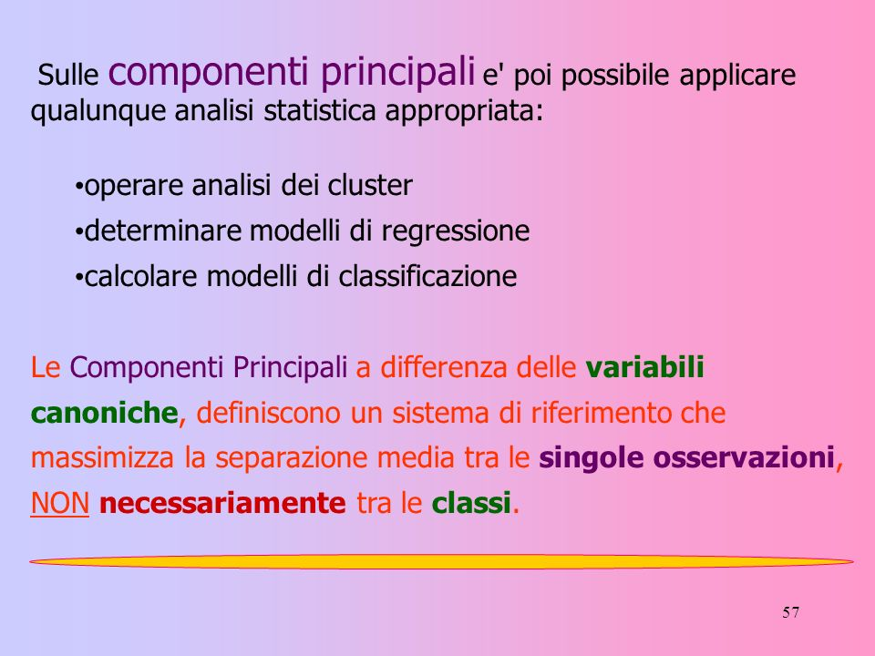 Sulle componenti principali e poi possibile applicare qualunque analisi statistica appropriata: