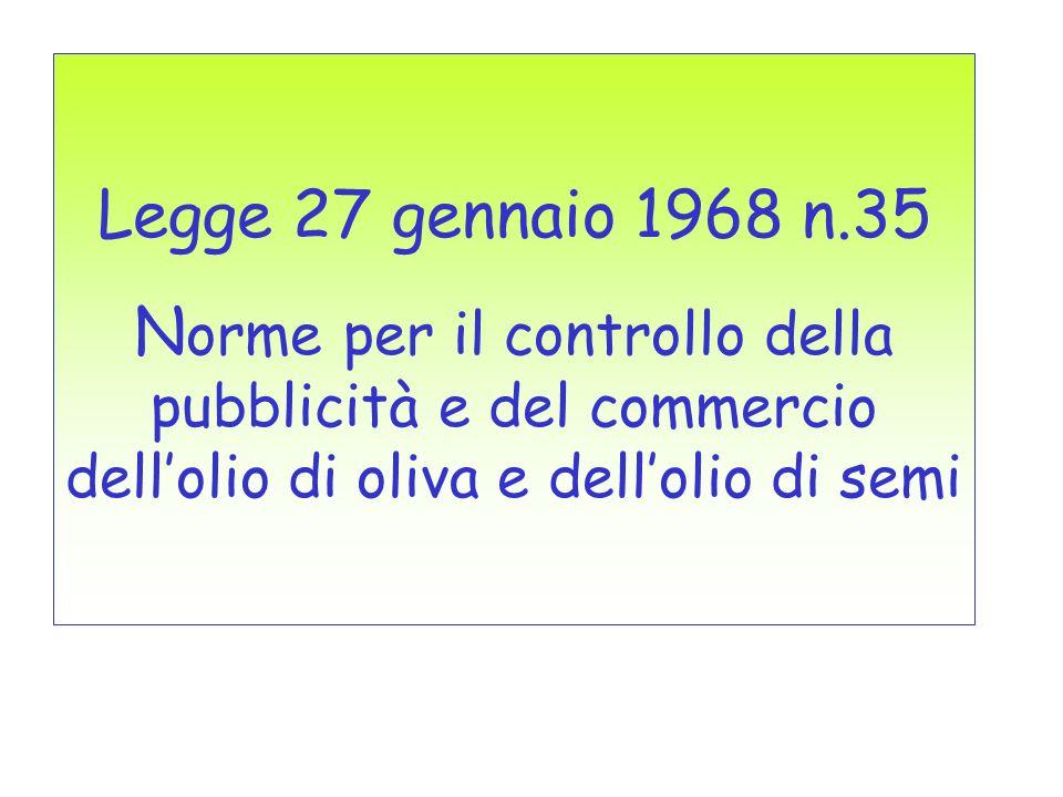 Legge 27 gennaio 1968 n.35 Norme per il controllo della pubblicità e del commercio dell'olio di oliva e dell'olio di semi.