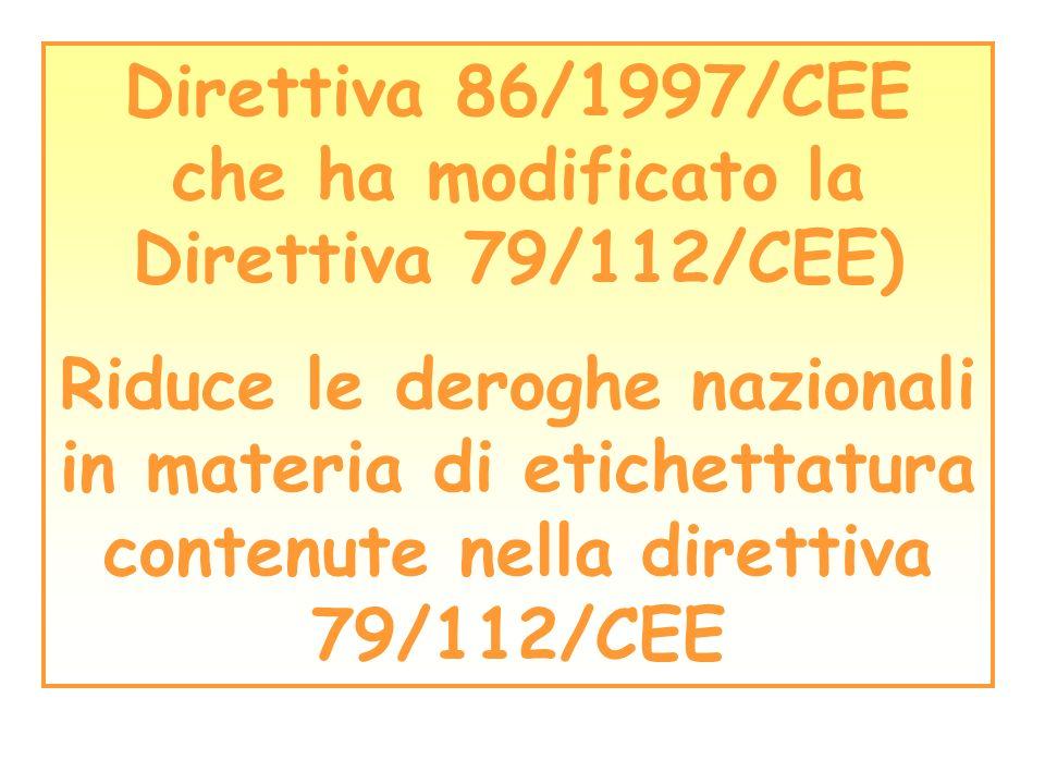 Direttiva 86/1997/CEE che ha modificato la Direttiva 79/112/CEE)