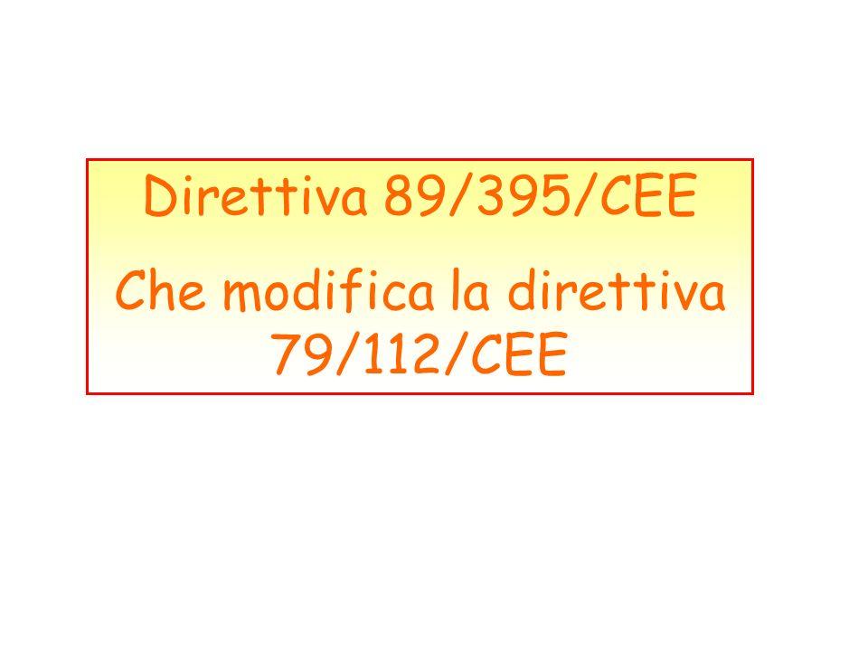 Che modifica la direttiva 79/112/CEE