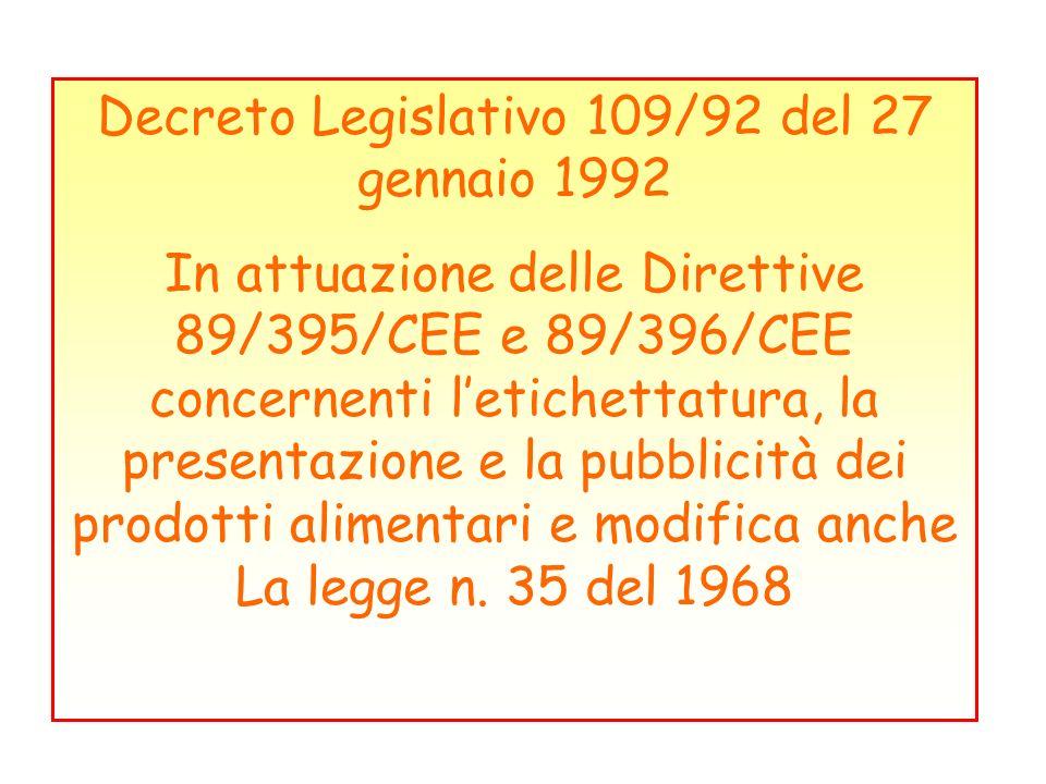 Decreto Legislativo 109/92 del 27 gennaio 1992
