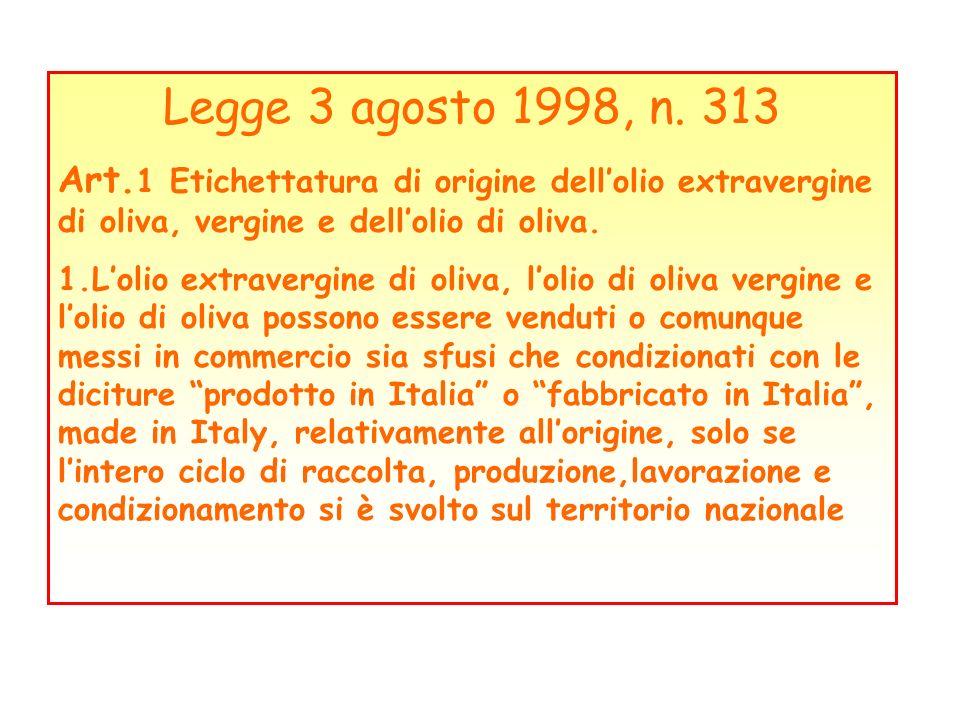 Legge 3 agosto 1998, n. 313Art.1 Etichettatura di origine dell'olio extravergine di oliva, vergine e dell'olio di oliva.