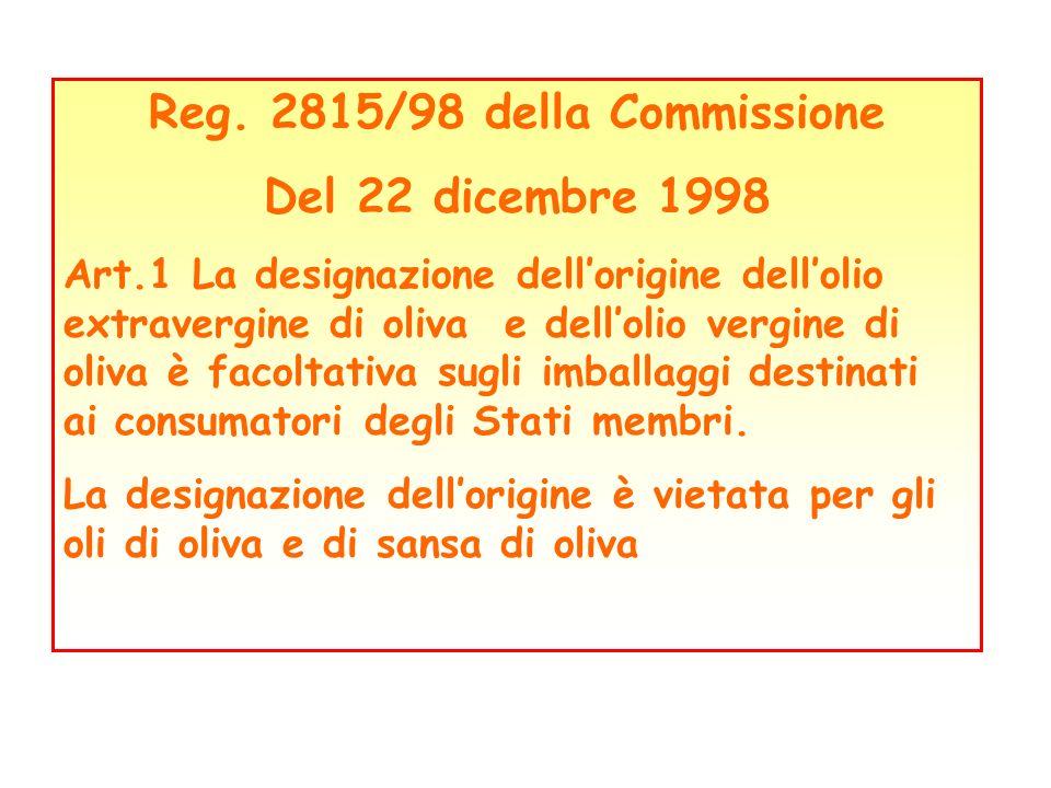 Reg. 2815/98 della Commissione