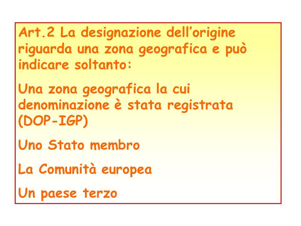 Art.2 La designazione dell'origine riguarda una zona geografica e può indicare soltanto:
