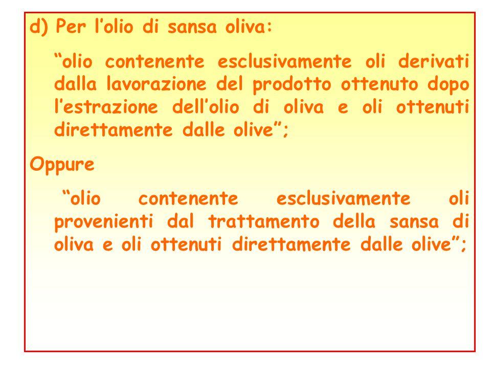 d) Per l'olio di sansa oliva: