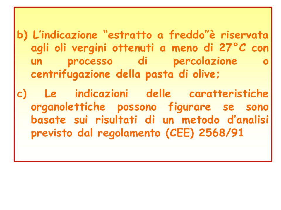 b) L'indicazione estratto a freddo è riservata agli oli vergini ottenuti a meno di 27°C con un processo di percolazione o centrifugazione della pasta di olive;