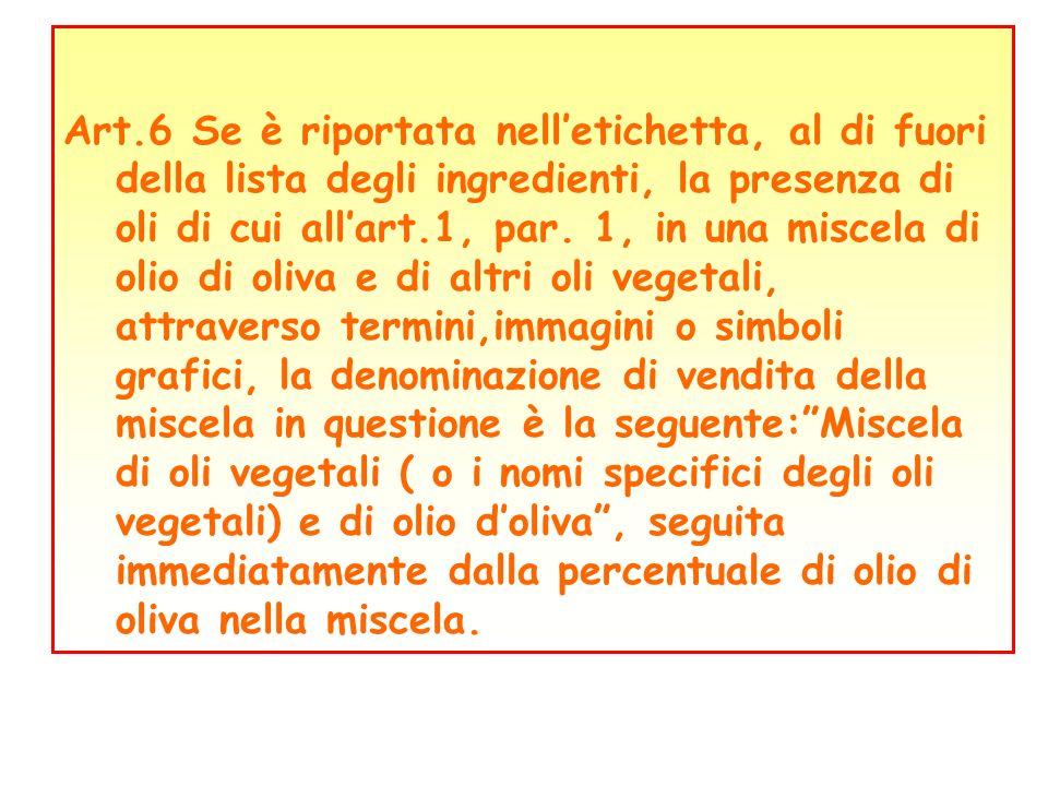 Art.6 Se è riportata nell'etichetta, al di fuori della lista degli ingredienti, la presenza di oli di cui all'art.1, par.