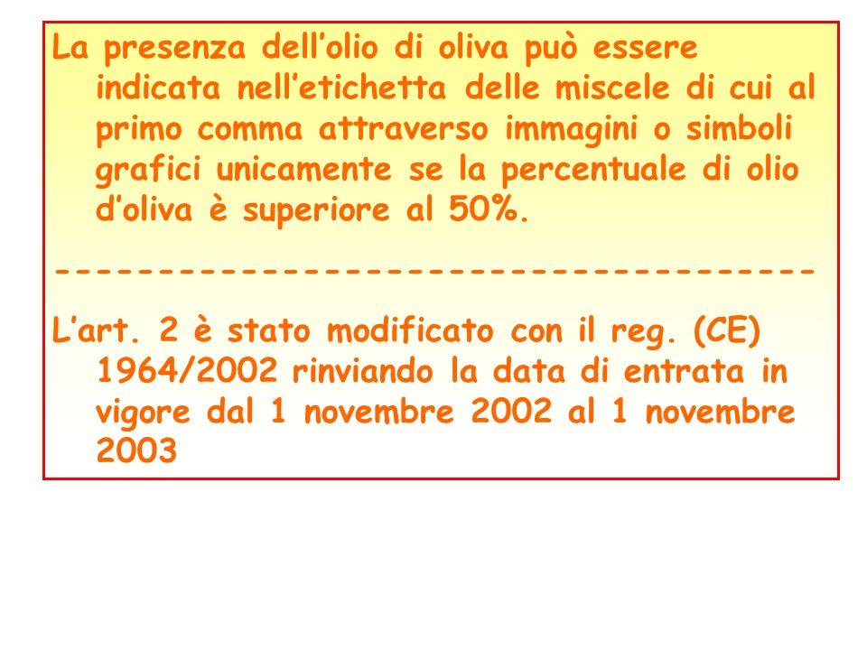La presenza dell'olio di oliva può essere indicata nell'etichetta delle miscele di cui al primo comma attraverso immagini o simboli grafici unicamente se la percentuale di olio d'oliva è superiore al 50%.