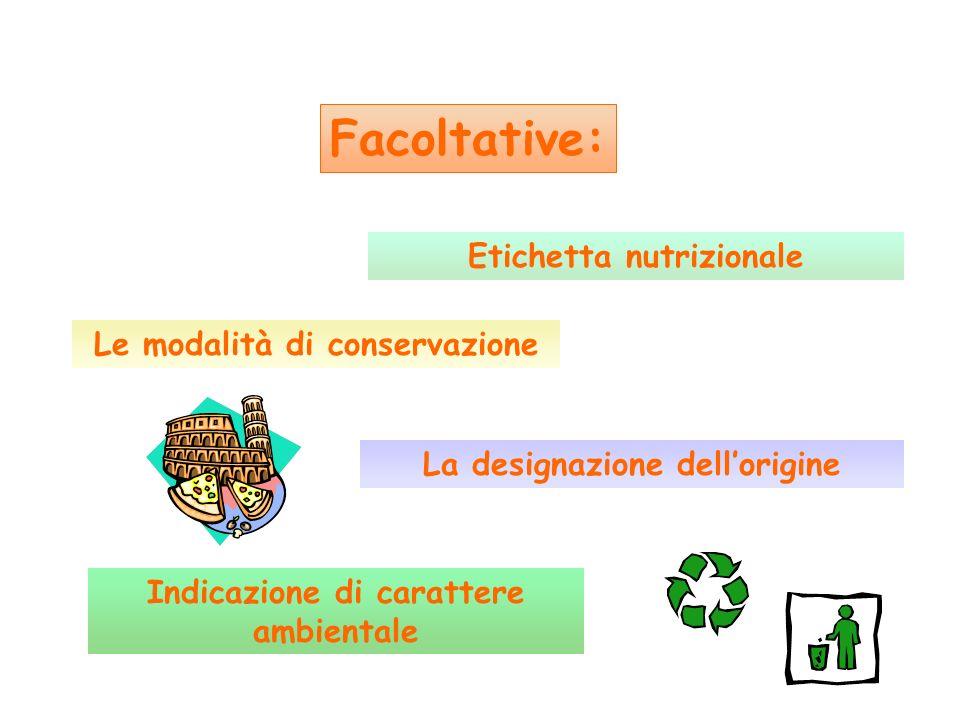 Facoltative: Etichetta nutrizionale Le modalità di conservazione