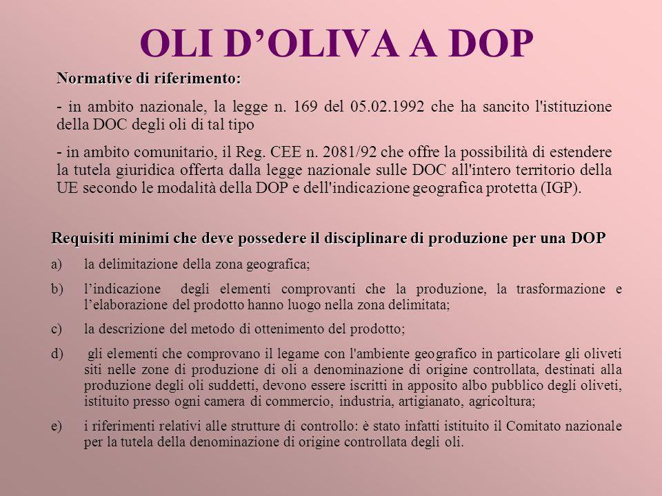 OLI D'OLIVA A DOP Normative di riferimento: