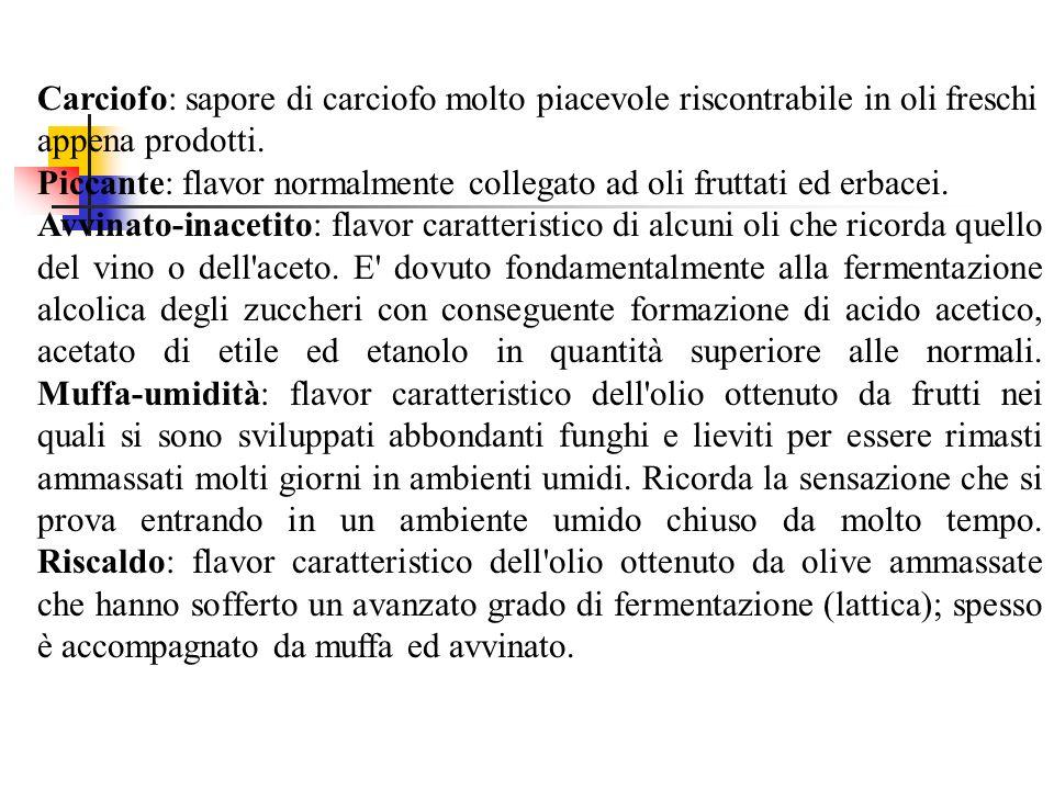 Carciofo: sapore di carciofo molto piacevole riscontrabile in oli freschi appena prodotti. Piccante: flavor normalmente collegato ad oli fruttati ed erbacei.