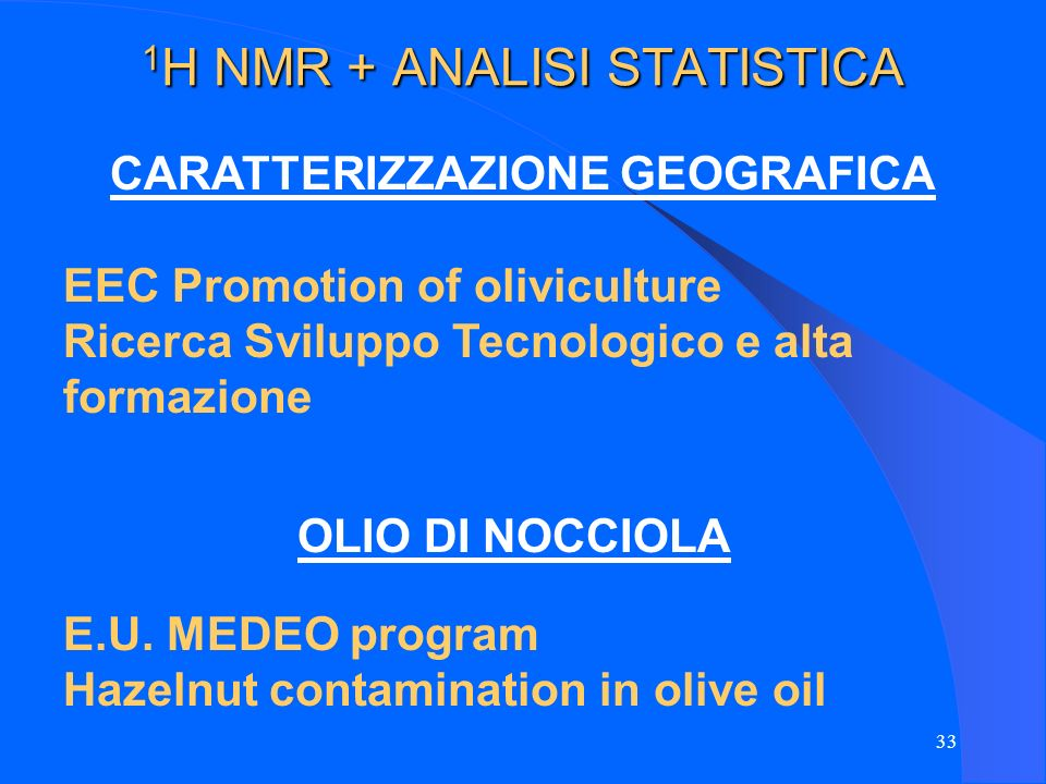 1H NMR + ANALISI STATISTICA
