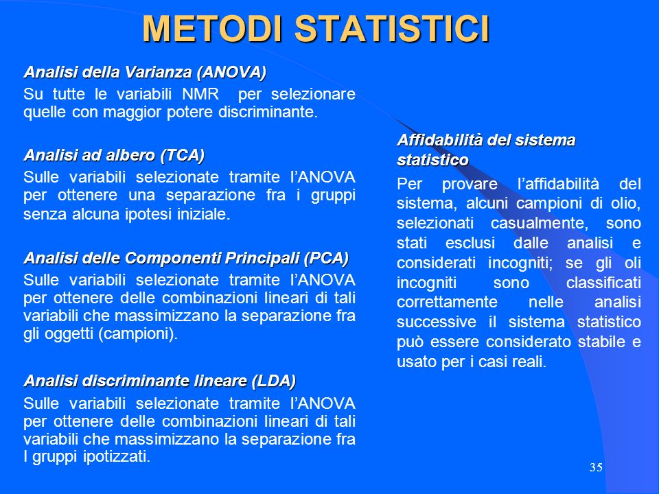 METODI STATISTICI Analisi della Varianza (ANOVA)