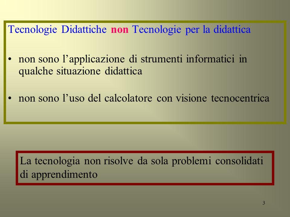 Tecnologie Didattiche non Tecnologie per la didattica