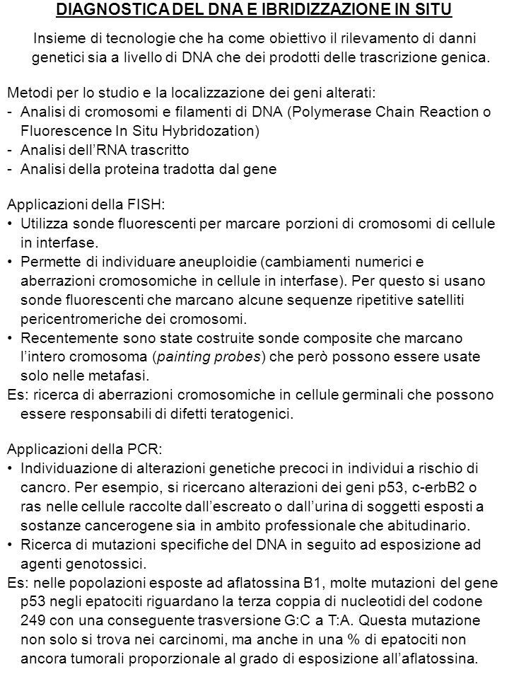 DIAGNOSTICA DEL DNA E IBRIDIZZAZIONE IN SITU