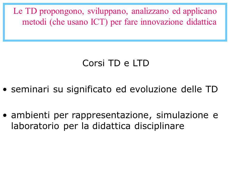 Le TD propongono, sviluppano, analizzano ed applicano metodi (che usano ICT) per fare innovazione didattica