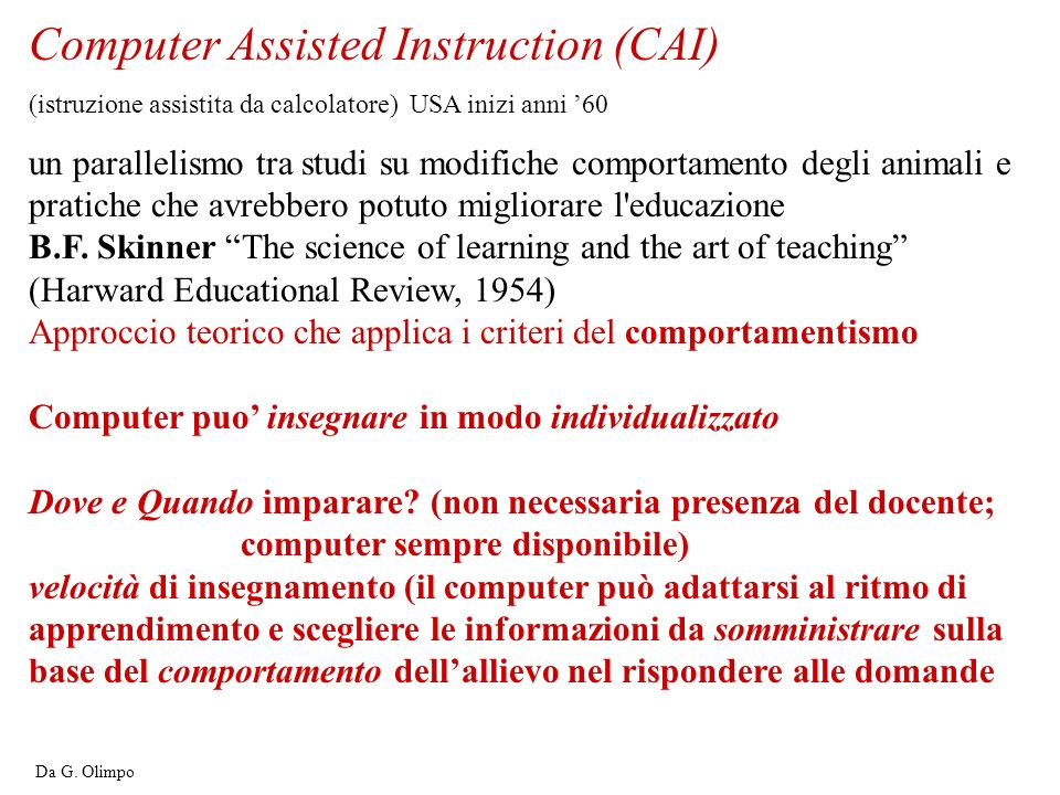 Computer Assisted Instruction (CAI)