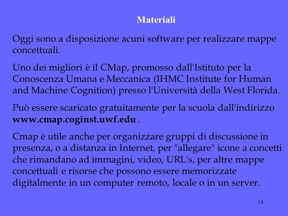 Materiali Oggi sono a disposizione acuni software per realizzare mappe concettuali.